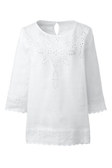 Women's Linen Broderie Anglaise Blouse