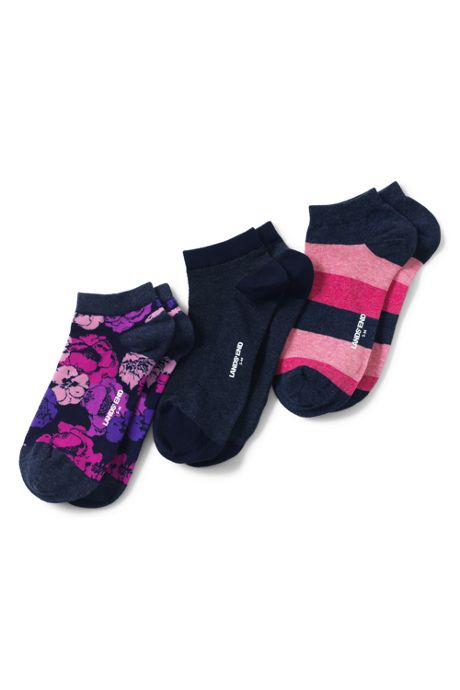 School Uniform Women's 3-Pack Seamless Toe Pattern Ankle Socks