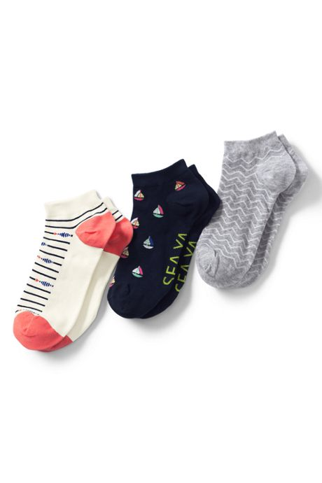 Women's 3-Pack Seamless Toe Pattern Ankle Socks