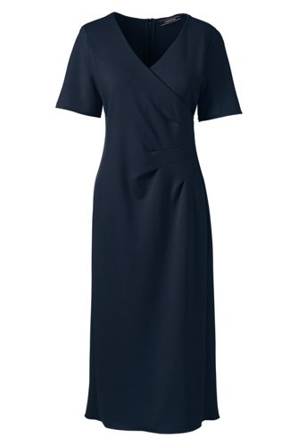 Ponté-Kleid in Wickel-Optik mit Plissee-Taille für Damen in Normalgröße