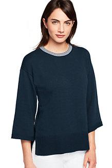 Baumwoll-Pullover mit gestreiftem Ausschnitt für Damen