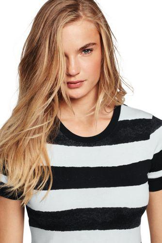 Le T-Shirt Rayé au Pinceau à Manches Courtes, Femme Stature Standard