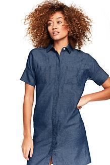 Chambray-Hemdblusenkleid aus Baumwoll/Leinenmix