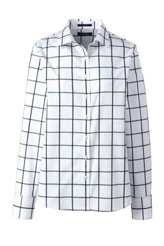 Gemusterte Supima Bügelfrei-Bluse, klassisch, für Damen