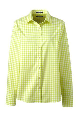 <ランズエンド>レディス・美型シルエット・スーピマ・ノーアイロン・身長別シャツ/レギュラー/柄/長袖/XL/グリーン画像