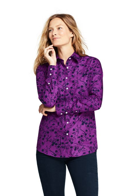 Women's Petite No Iron Supima Cotton Long Sleeve Shirt