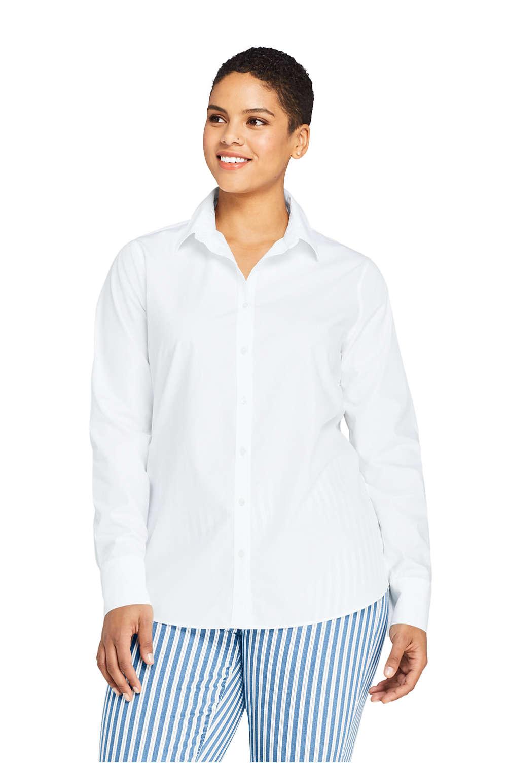 79e2aaba1d Women's Plus Size No Iron Supima Cotton Long Sleeve Shirt from Lands ...