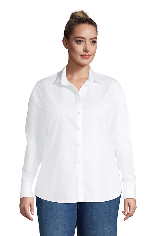 Women's Plus Size No Iron Supima Cotton Long Sleeve Shirt, Front
