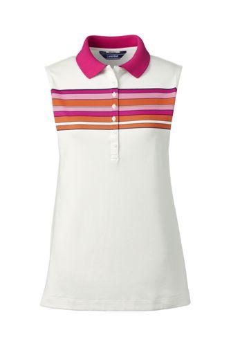 Le Polo Pima Sans Manches à Motifs, Femme Stature Standard