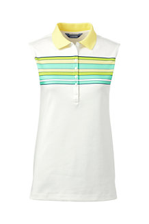 Women's Sleeveless Striped Pima Polo