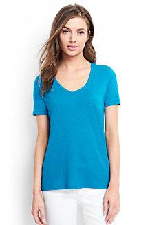 Le T-Shirt Col V en Coton et Modal, Femme