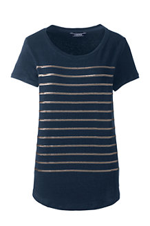 Women's Sequin Stripe Linen Jersey Top