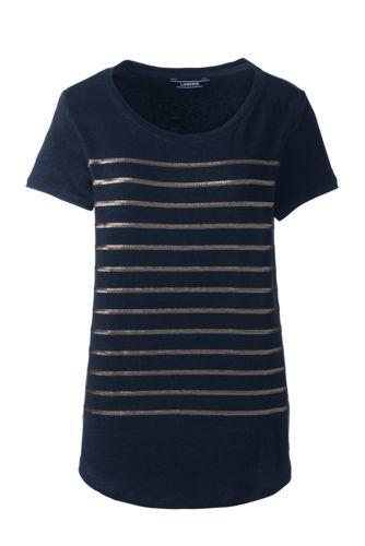 Women's Sequin Stripe Linen Jersey Top