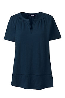 Women's  Short Sleeve Eyelet Trim Linen Top