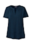 Women's Regular Short Sleeve Eyelet Trim Linen Top