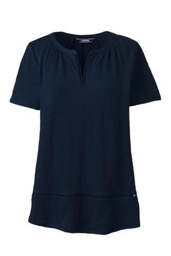 Le Haut en Lin à Couture Ajourée, Femme Stature Standard