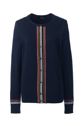 Women's Supima Fine Gauge Embroidered Cardigan