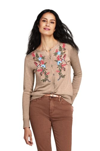 Le Cardigan Supima avec Broderies, Femme Stature Standard