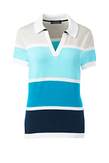 Women's Fine Gauge Contrast Polo