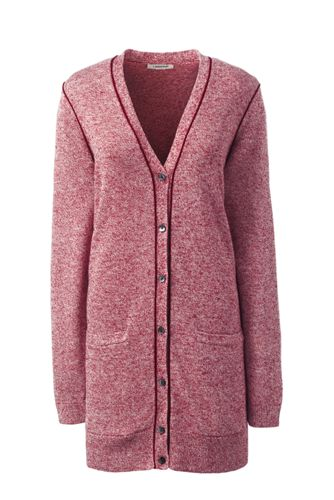 Women's Regular Linen/Cotton Piped Cardigan