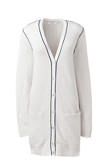 Women's Linen/Cotton Piped Cardigan