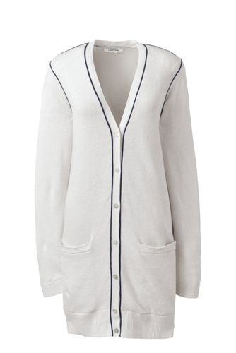 Women's Regular Linen/Cotton Piped Cardigan