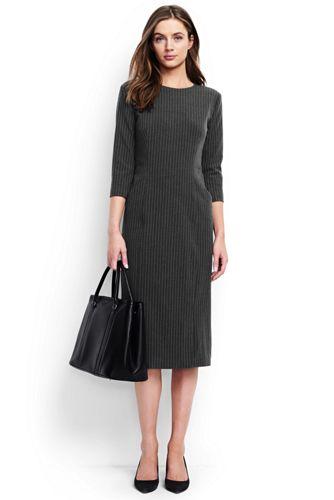 57%OFF<ランズエンド>レディス・美型シルエット・イヤーラウンド・身長別ドレス/ペティート/柄/七分袖/L/グレー画像