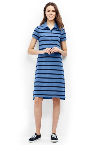Womens Short Sleeve Stripe Piqué Polo Dress - 10 -12 - BLUE Lands End New Lower Prices Buy Cheap Largest Supplier Pay With Paypal TZRDbLZxbi