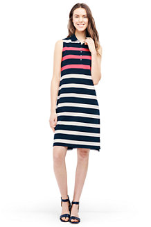 Women's Sleeveless Stripe Piqué Polo Dress