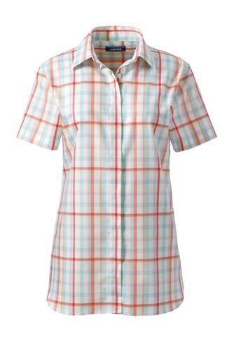 Gemusterte Supima Bügelfrei-Bluse für Damen, kurze Ärmel