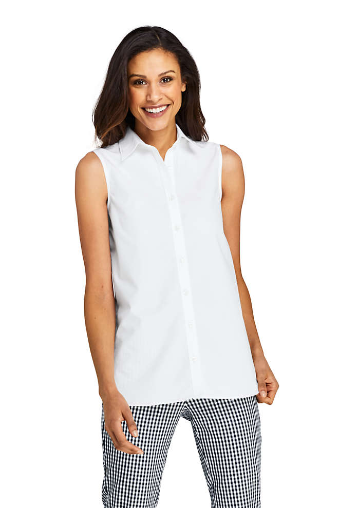 Women's Sleeveless No Iron Shirt, Front