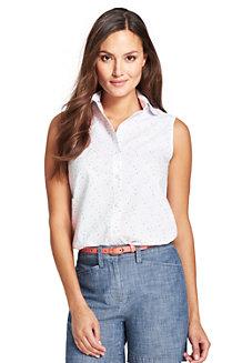 f0ab7ffe5cf030 Ärmellose Supima Bügelfrei-Bluse mit Muster für Damen