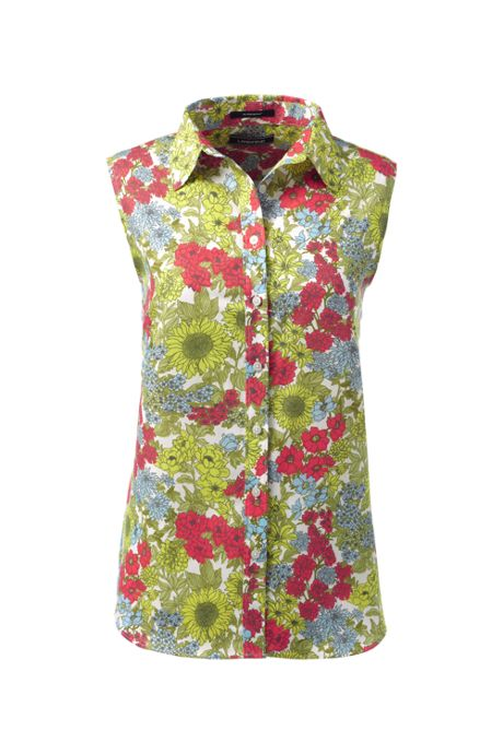 Women's Tall No Iron Supima Cotton Sleeveless Shirt