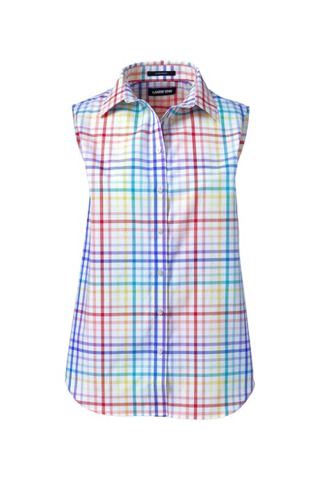 Women's Petite No Iron Supima Cotton Sleeveless Shirt
