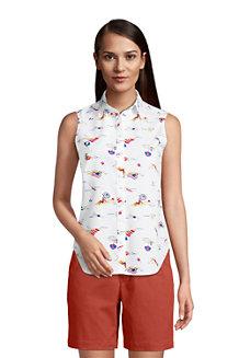 Ärmellose Supima Bügelfrei-Bluse mit Muster für Damen
