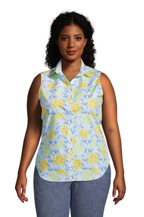 Women's Plus Size No Iron Supima Cotton Sleeveless Shirt