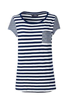 Le T-Shirt Asymétrique en Coton Modal Rayé, Femme Stature Standard