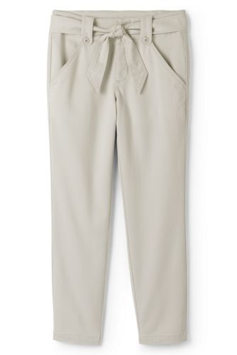 Womens Petite Mid Rise Super-soft Tie Waist Chino Trousers - 12 - Green Lands End