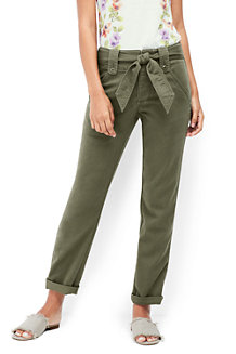 Women's Mid Rise Super-soft Tie Waist Chino Trousers