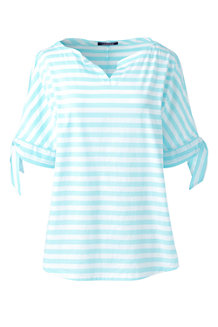 Women's Cotton Tie-sleeve Striped Top