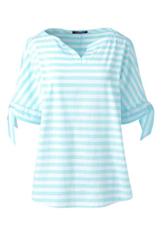 Gestreiftes Jersey-Shirt mit Schleifen-Ärmeln