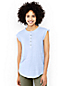 Women's Sleeveless Linen Jersey Ruffle Henley Top