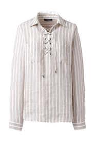 Women's Long Sleeve Lace Up Linen Shirt