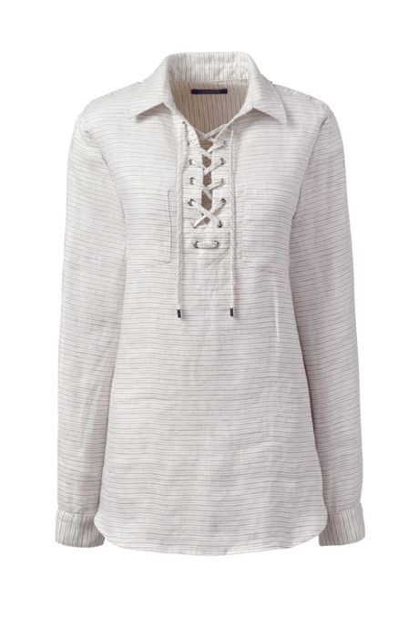 Women's Petite Long Sleeve Lace Up Linen Shirt