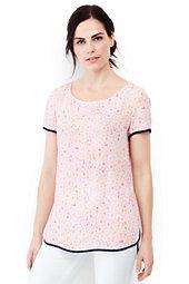 Women's Petite Short Sleeve Crepe Tee-Whispering Pink Shells