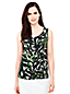 Women's Regular Sleeveless Satin-back Crepe Print Top