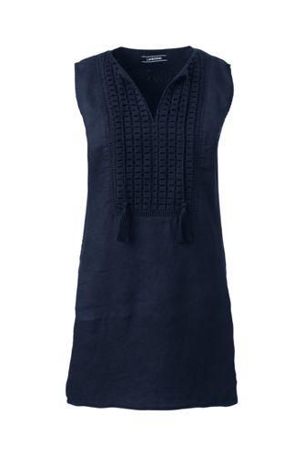 Women's Regular Linen Broderie Anglaise Trim Tunic