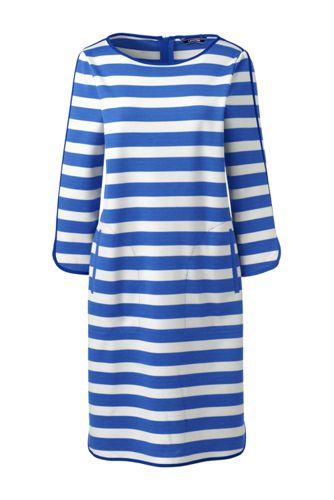 La Robe Ponté Rayée Manches 3/4, Femme Stature Standard