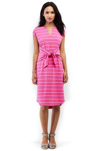 Women's Stripe Stretch Jersey Tie Front Dress