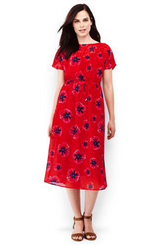 Women's Dolman Sleeve Print Summer Midi Dress